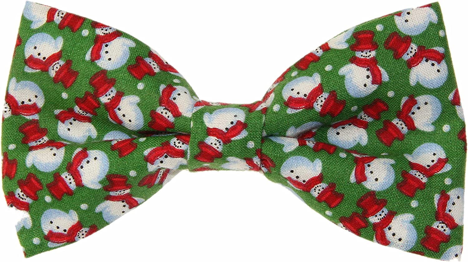 Men's Green Snowman Wearing a Tophat Clip On Cotton Bow Tie