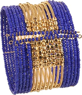 New Indian Bollywood Beautiful Beaten Metal Beads Wrist Enhancer Openable Cuff Bracelet in Gold Tone for Women.
