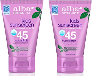 Alba Botanica Very Emollient, Kids Sunscreen SPF 45 4 oz (Pack of 2)