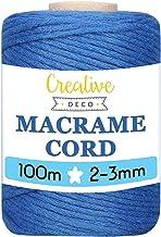 Creative Deco 328 Fot Blå Macrame-sladd Bomullssträng | 100 m | 2-3 mm Tjocklek 15-skikt Garn | Stor Reprulle Naturligt Tj...