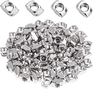 Powlankou 100 Pieces 2020 Series T Nuts, M3 T Slot Nut Hammer Head Fastener Nut, Nickel Plated Carbon Steel for Aluminum Profile