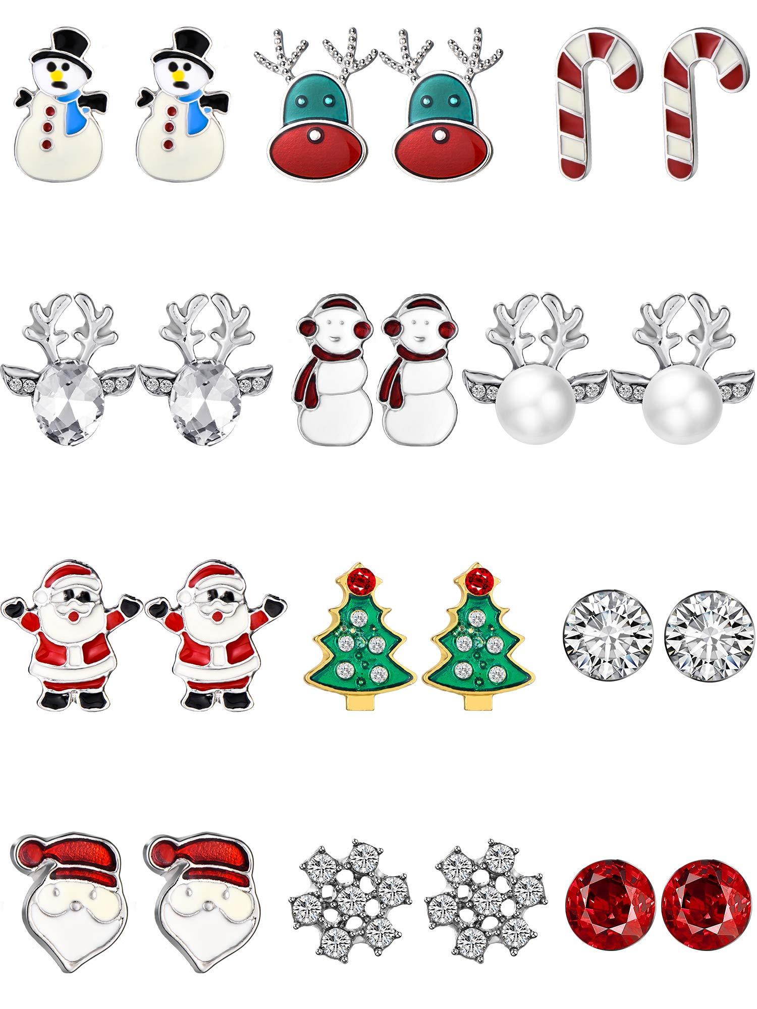 Christmas Stud Earring Drop Dangle Earrings Set Christmas Gift Jewelry with Snowman Snowflake Santa Elk Design for Women (Style Set 3)
