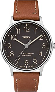 Timex Waterbury Men's Black Dial Classic 40mm Leather Strap Watch - TW2P95800