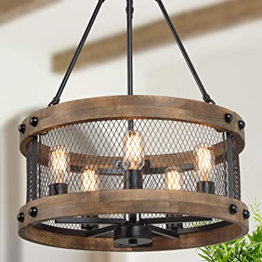 LALUZ Farmhouse Chandelier for Dining Room, 18'' Round Wooden Chandelier for Kitchen Island, Foyer, Entryway, 5-Light