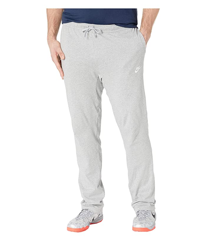 Nike Big Tall NSW Club Open Hem Jersey Pants (Dark Grey Heather/White) Men
