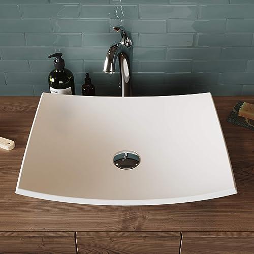 """Kraus - Fregadero para baño, Moderno, Rectangle 19.6"""" L x 15.7"""" W x 4.3"""" D, Blanco mate"""