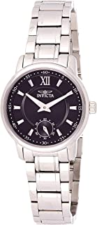 Invicta Women'S Specialty Quartz 3 Black Dial Stainless Steel Band Watch - 18008, Standard