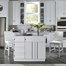 Linear White Kitchen Island and Stools by Home Styles