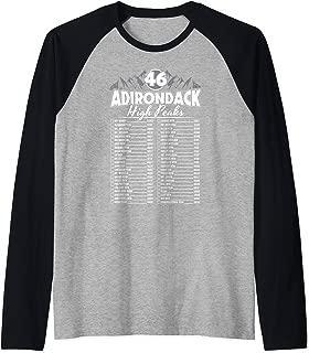 46 Adirondack Mountain Climbing Checklist Raglan Baseball Tee