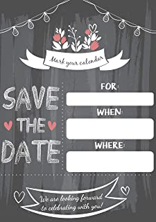 Save The Date Invitations 20 5x7 Black & White Rustic Chalkboard Guests at Wedding, Engagement, Anniversary, Baby Shower, Birthday Party, Bridal, Weddings Save The Dates Invite Cards