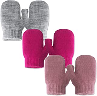 Infant Thermal Warm Stretch Knitted Mittens, Toddlers Plain Soft Anti Scratch Winter Gloves for Kids (3 Pairs)