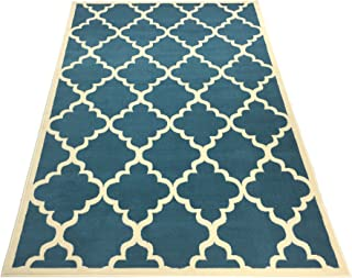 RugStylesOnline Moroccan Trellis Area Rug, Lattice Trellis Design, Modela Collection, Petrol Blue 4'9