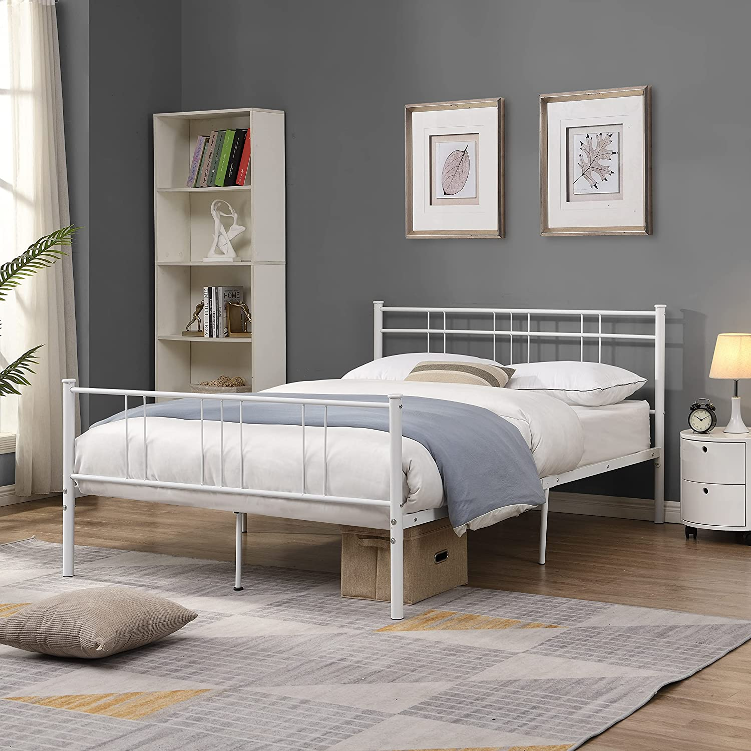 Large special price !! Full Size Bed Frame Metal Headboard Footboard and Detroit Mall Platform with