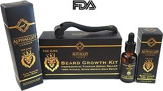 ALPHALUXY Best Beard Growth Kit   Professional Derma Roller & Miracle Beard Growth Gold Serum   Activate Hair Follicles & Collagen 5xFaster Results  Titanium Microneedle Derma Roller, Beard Oil, Guide