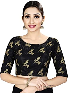 Ocean Fashion Women's Satin Silk Embroidered Black Readymade Saree Blouse