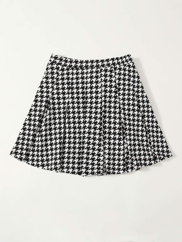 DIDK Women's Casual High Waist Plaid Pleated Zipper Side Mini Skater Skirt