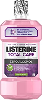 Listerine Total Care Alcohol-Free Anticavity Mouthwash, 6 Benefit Fluoride Mouthwash for Bad Breath and Enamel Strength, Fresh Mint Flavor, 1 L