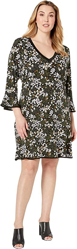 Plus Size Mod Garden Flounce Dress