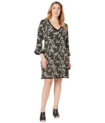 MICHAEL Michael Kors Plus Size Mod Garden Flounce Dress (Black/Ivy) Women