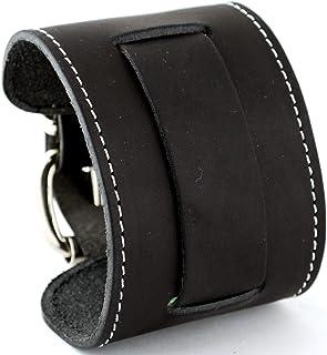 ネメシス# stw-k Wideブラック革カフ腕時計バンド