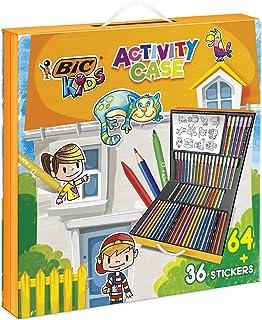 BIC Kids Activity Case - 24 Lápices de colores /24 rotuladores /16 Ceras y 36 Adhesivos para Colorear