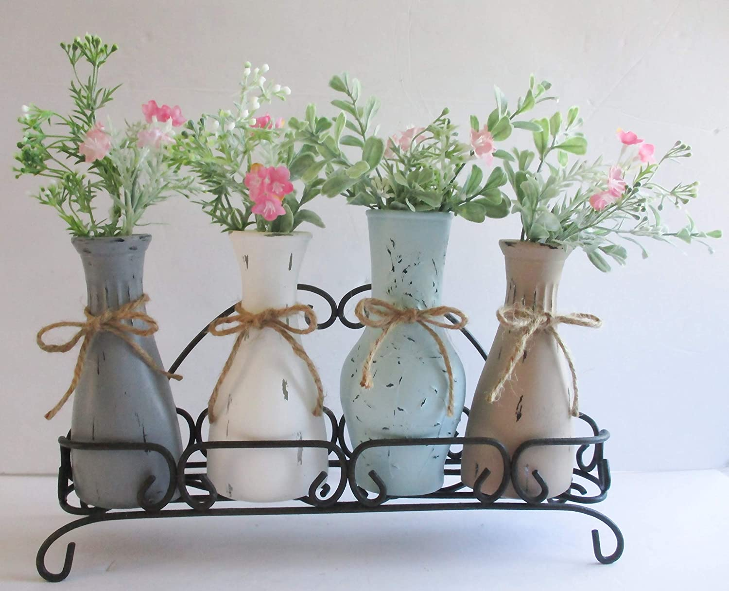 Flower Vases in Metal Max 73% OFF Caddy Farmhouse Chic Shabby Gla Painted Raleigh Mall