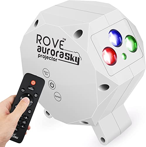 lowest ROVE Aurora Sky Galaxy online sale Projector - Laser Star online sale Projector with Built-in Bluetooth Speaker and Remote, Multi-Color RGB LED Nebula Cloud for Bedroom Night Light, Game Room, Home Theater Mood Ambience online sale