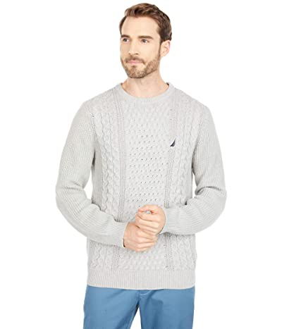 Nautica Classic Fit Cable Knit Sweater (Medium Grey Heather) Men