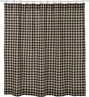 VHC Brands Classic Country Primitive Bath-Burlap Check Black Shower Curtain, 72 x 72, Raven