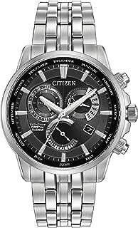 CITIZEN 手表 calibre 8700男式太阳能手表黑色表盘 模拟显示和银色不锈钢表链 bl8140?–?55E