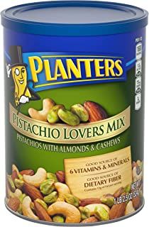 PLANTERS Pistachio Lover's Mix, Resealable Canister | Deluxe Pistachio Mix: Pistachios, Almonds & Cashews Roasted in Peanut Oil with Sea Salt | Kosher, Savory Snack, 18.5 Oz