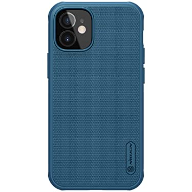 """Nillkin Case for Apple iPhone 12 Mini (5.4"""" Inch) Super Frosted Shield Pro Hard Back Soft Border (PC + TPU) Shock Absorb Cover with Raised Bezel for Camera Protect PC Without Logo Cut Blue Color"""