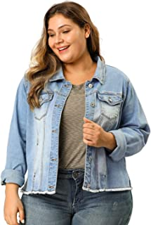 Agnes Orinda Women's Plus Size Classic Washed Front Frayed Denim Jacket