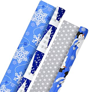 Hallmark Holiday Reversible Wrapping Paper Bundle, Blue and Silver (Pack of 2, 60 sq. ft. ttl) Snowmen, Snowflakes, Christ...