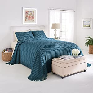 BrylaneHome Chenille Bedspread - Queen, Antique Blue