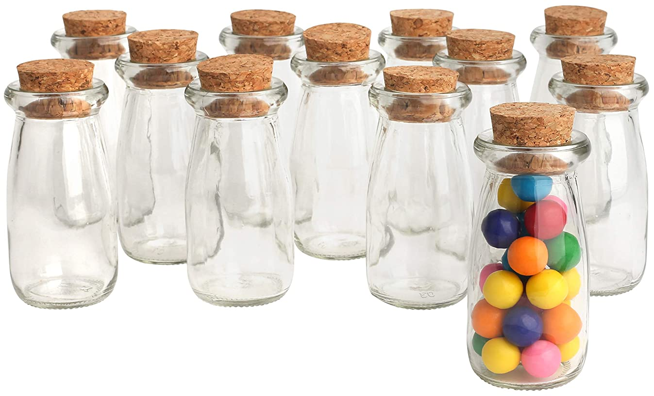Mantello Mini Glass Jars Milk Bottles with Cork Top, Party Favors, Wedding Favors, Baby Showers, Bud Vases (Set of 12)