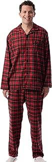 Men's Plaid Button Front Flannel Pajamas Set - Long...
