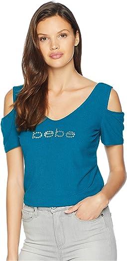 Short Sleeve Thick Crystal Rib Logo