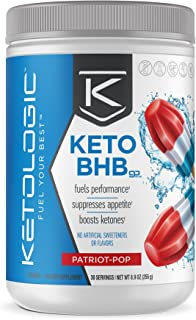 KetoLogic BHB Exogenous Ketones Powder Supplement: Patriot Pop (30 Servings) - Boosts Ketosis, Increases Energy & Focus, Suppresses Appetite � Supports Keto Diet & Weight Management