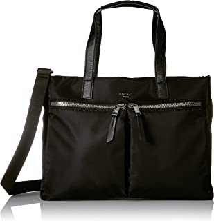 """Knomo Mayfair Blenheim, 14"""" Leather Tote, with Multiple Compartments, Device Protection, Suitcase Slip Pocket, RFID Pocket and KNOMO ID, Black"""