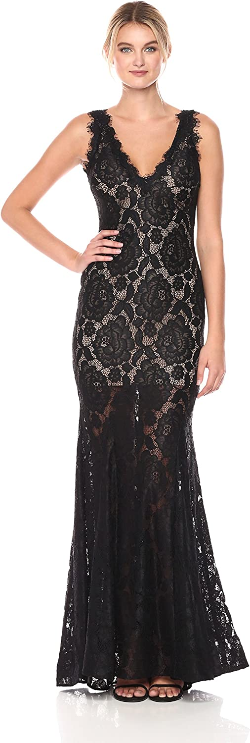 Betsy & Adam Womens V Neck Lace Gown Dress