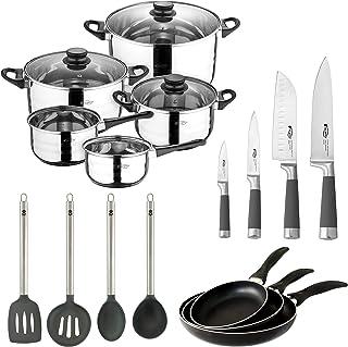 San Ignacio PK525 Set RENUEVA-Sartenes Black + Batería 8 Pcs + Utiles + Cuchillos Cocina, Metalizado y Negro