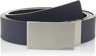 Men's 32mm Reversible Flat Strap Plaque Buckle With Logo Belt