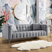 Inspired Home Velvet Grey Sofa - Biscuit Tufted Sofa Vintage Couch with Lucite Legs, Angelo, Grey