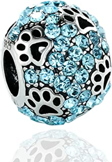 Jewelry Dog Paw Print 925 Sterling Silver Charms Bead Animal Pet Bracelets 6 Style