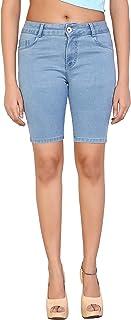 FCK-3 Strechable Denim Solid Slim fit Short for Women's
