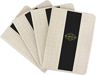 Stylish Menu Cover, Segarty 4 Pack 8.5x12 Inch Menu Covers 8 Pages Double Views Book Style Cafe Restaurant Folder