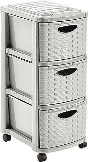 M-Home | Commode de Rangement / 3 Tiroirs + Roulettes | Plastique / Imitiation Osier | Beige Clair Ficelle | 29 x 39 x 65 ...
