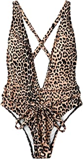 Women's Sexy Bathing Suits Criss Cross Tie Knot Front Deep V Open Back Leopard One Piece Swimwear