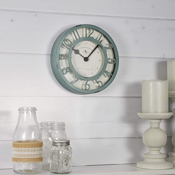 FirsTime Co 99663 Sage Raised Wall Clock 8 Green